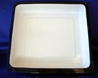 Vintage enamel ware basin rectangular white with black punched holes