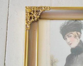 Vintage frame with print of antique fashion illustration