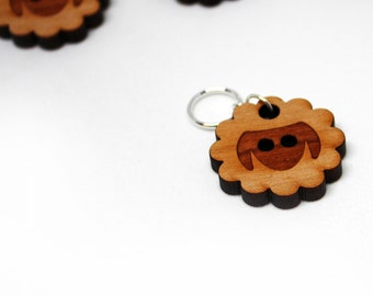 Stitch Markers, Wood Sheep, Soldered Ring Marker, Single