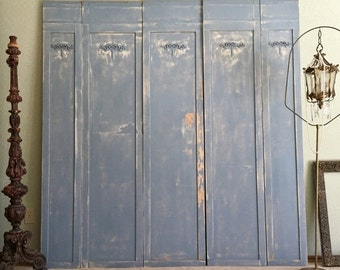 Old Painted Wood Panel Architectural Wall Hanging Shabby Chic Distressed French Blue and White Ribbons and Bows Headboard