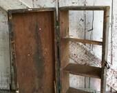 Primitive shelf with door old tool box rustic wall decor vintage wall shelf