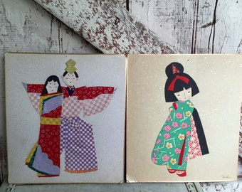 Origami Geisha Kimono Asian Oriental Girl and Asian couple wall art Vintage