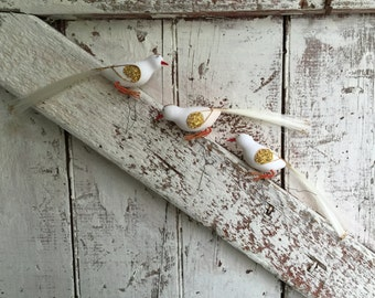 Flocked White birds with long tails on wire vintage set of three vintage flocked birds