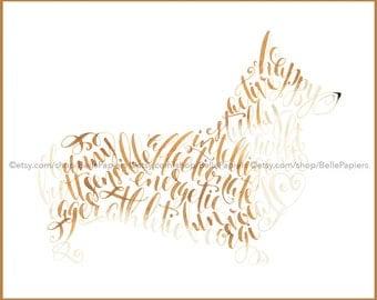 Corgi Memorial Pembroke Welsh Corgi Cardigan Corgi Print Corgi Painting Corgi Memorial Dog Calligraphy Wall Art Corgi Pet Portrait