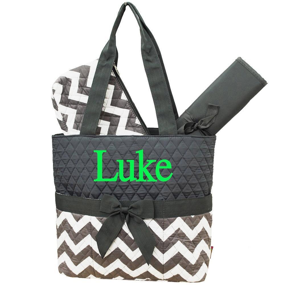 monogrammed diaper bag personalized diaper bag grey chevron. Black Bedroom Furniture Sets. Home Design Ideas