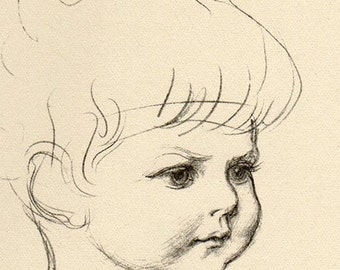 Vintage Antique 1930 Drawing of Children Baby, Babies, Boys Illustration babies book art print  22