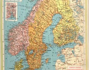 LARGE Antique Vintage SWEDEN map, original 1940s