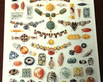 Vintage 1922 Gemstones Precious Minerals Beads Print Antique Gems stones print bookplate art print, wall art print