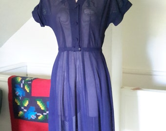 1940s Sheer Navy Afternoon Illusion  Dress M