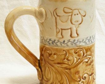 Ceramic little dog coffee mug 16oz. stoneware 16A085