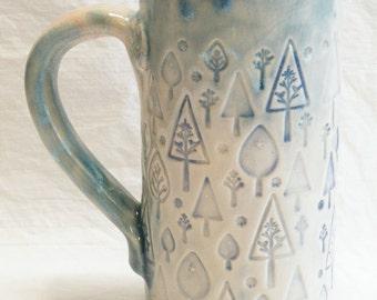 Trees ceramic coffee mug 20oz  stoneware 20C033