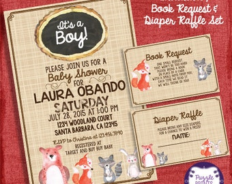 Woodland Baby Shower Theme Baby Shower Set -Invite + Diaper Raffle Ticket + Book Request   - I design you print