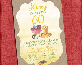 Surprise Garden Style Birthday Party Invitation 4x6 or 5x7-Printable