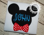 Bowtie Mickey Ears Monogram Applique Shirt - Disney Trip - Vacation - Birthday Shirt - Minnie Mouse- Mickey Mouse - Boy's Disney Shirt