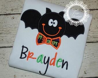 Bat with Bowtie Halloween Shirt  - Halloween Applique Shirt - Boy's Halloween Shirt - Holiday Designs - Monogrammed Shirt