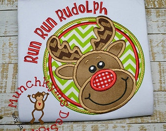 Run Run RUDOLPH Reindeer shirt - Christmas Shirt - Reindeer Design - Girl's or Boy's Holiday Shirt Design
