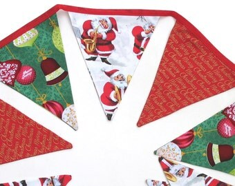 Christmas Bunting - Red / Gold / Green Flags . Stunning! - Xmas Party Handmade Banner, Decoration . RETRO STYLE