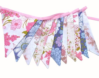 Vintage Bunting - Retro 'Purple pink  Floral' & lace Flags. Home Decoration Banner. Kitchen High Tea Party decor