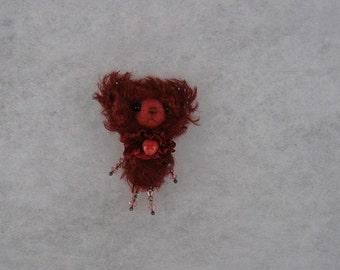 Bear brooch Mohair bear brooch Bear brooch with Swarovski crystals Mini bear brooch Burgundy bear brooch