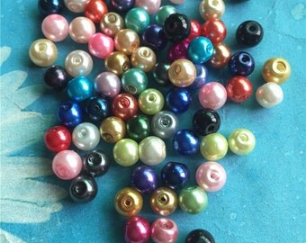 100pc 6mm mixed disco ball spacer beads/glass pearl beads/round beads