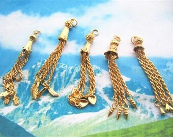 10pcs 80mm assorted Gold plated chain tassel charms findings