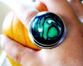 Sterling Silver Eco Friendly Vintage Lucite Statement Ring Slime Green Artisan Hand Fabricated Bezel Set Adjustable Stratified Bullseye