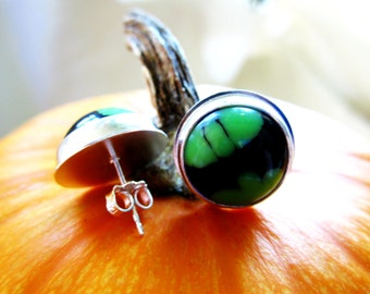 Sterling Silver Post Earrings Eco Friendly Vintage Lucite Slime Green on Black Artisan Hand Fabricated Bezel Set