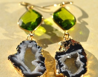 SALE Geode Earrings - Gold Druzy Earrings - Black Druzy Earrings - Druzy Geode Jewelry - August Birthstone Peridot Jewelry - Long Dangle Ear