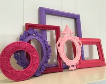 Pink Decor, Unique Home Decor, Vintage Frames, Cinderella, Pastel Frames, Upcycled, Lavender, Pink,Blue Frames