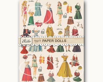 Vintage Paper Doll PAPER, Gift Wrapping, Cards, Invitations, Digital Download. Printable Paper, Vintage Mothers Day, Digital collage