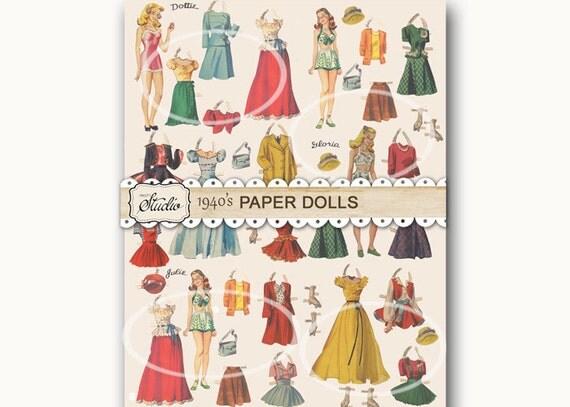 vintage paper doll paper vintage gift wrapping color digital download printable paper. Black Bedroom Furniture Sets. Home Design Ideas