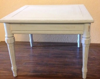 Vintage end table • vintage coffee table • country blue table