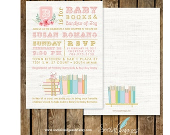 BOOK Themed BABY Shower Girl INVITATION Printed or Digital/Printable File