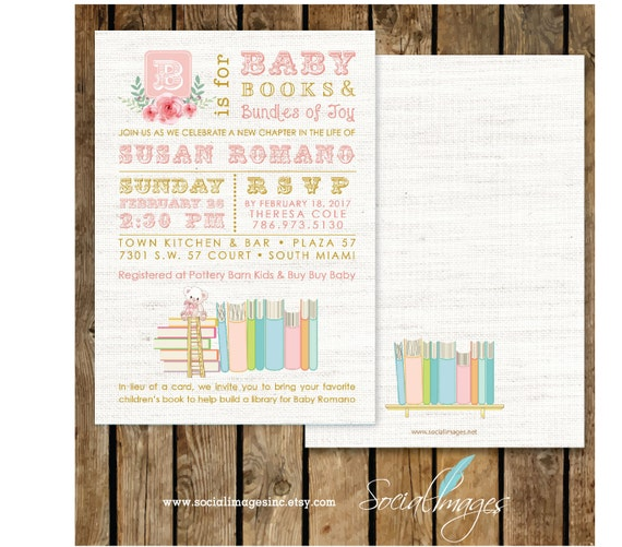 book themed baby shower girl invitation printed or digital printable