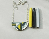 Wooden necklace,geometric pattern,gray,yellow necklace,halfmoon necklace