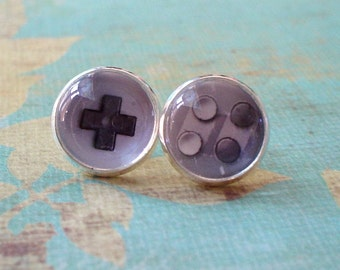 20% OFF --Black and white game controller stud earrings,cute gift,Glass earring stud