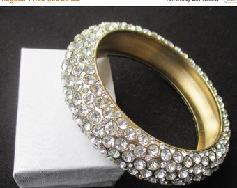 CHRISTMAS In July SALE 20% Off, Gorgeous Vintage Rhinestone Bangle Bracelet...Statement Piece