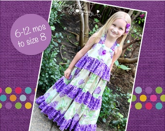 Julia's Twirly Maxi Dress PDF Pattern sizes 6-12 months to 8 girls