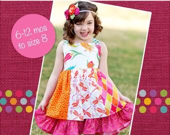 Mia's Reverse Knot Twirly Dress PDF Pattern size  6 months to size 8
