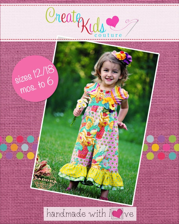Anika's Ruffle Capris Romper PDF Pattern size 18 months to size 6