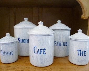 Vintage French Enamel Ware Canister Set Storage Jars Enamelware Granite Ware Set of 5 Marbled France Decor Blue and White