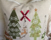4 Trees Holiday Pillow