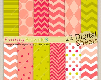 "ON SALE  baby girl birthday party digital paper pack, Pink and green digital paper background 12x12"", No.276-2, polkadots, pink, green"