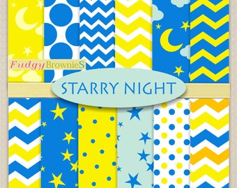 "ON SALE Starry Night Digital Paper Pack,moon star digital paper background 12x12"", No.278-2, chevron,  yellow, blue"