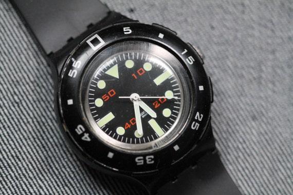Vintage divers style swatch watch black quartz - Swatch dive watch ...