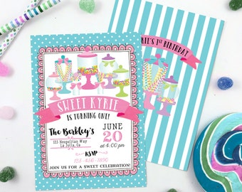 Candy Jar Invitation Candy Land Sweet Shoppe Invitation Candyland Birthday Party Printable 5x7 Baby Shower Sweet Shop Apothecary Jar Dessert