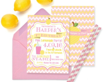 Pink Lemonade Party Invitation Pink Lemonade Birthday Party Printable 5x7 Invitation