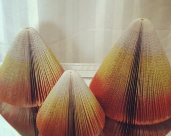Set of three book page candy corn/Halloween decor/party decor/upcycled books