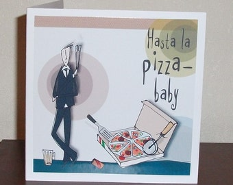 Humourous male birthday card, Bloke at the movies card, Hasta la Pizza birthday card, personalised male name birthday card