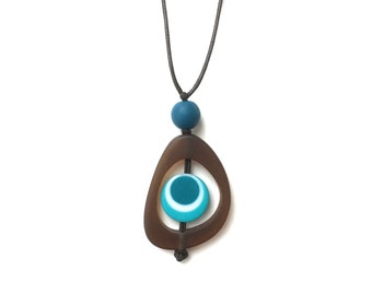 Nursing Necklace Resin Spinning Disc Pendant - Brown, Teal and Turquoise Sensory Jewelry